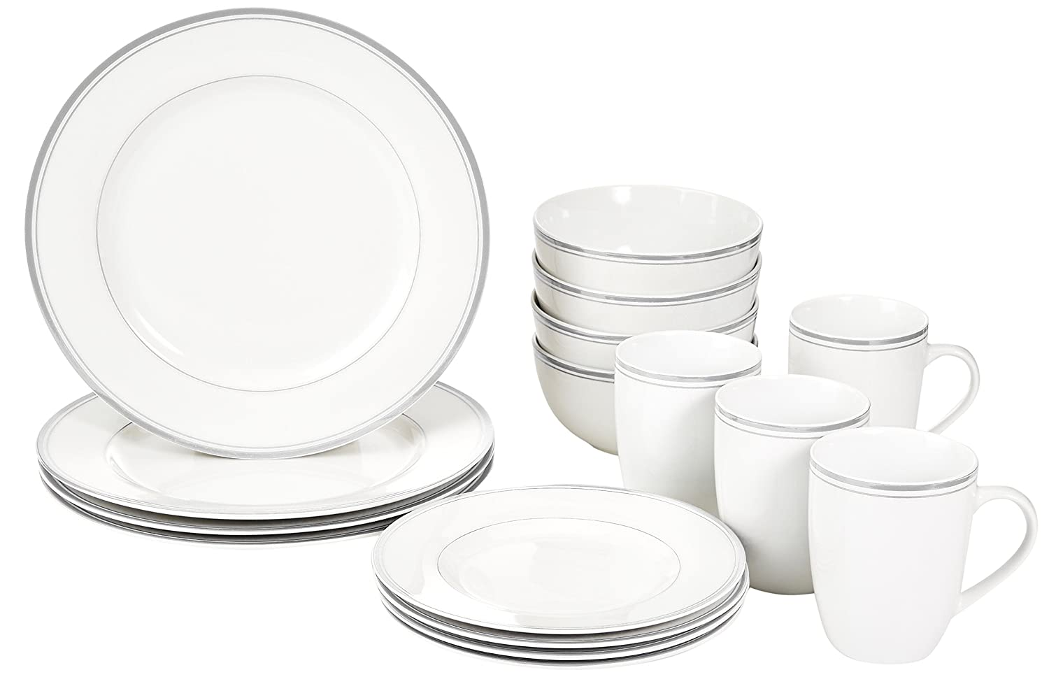 Amazon.com: AmazonBasics 16 Piece Cafe Stripe Dinnerware Set, Service For 4    Grey: Kitchen U0026 Dining