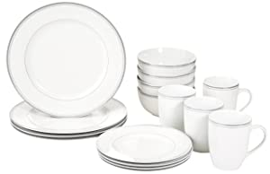 AmazonBasics 16-Piece Cafe Stripe Dinnerware Set, Service for 4 - Grey