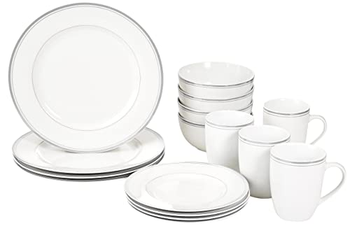 Top Rated. AmazonBasics Cafe Stripe Dinnerware Set with 16-Pieces - Grey  sc 1 st  Amazon UK & AmazonBasics Cafe Stripe Dinnerware Set with 16-Pieces - Grey ...