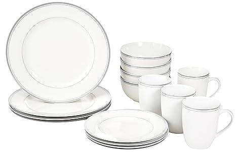 AmazonBasics 16-Piece Cafe Stripe Dinnerware Set Service for 4 - Grey  sc 1 st  Amazon.com & Amazon.com: AmazonBasics 16-Piece Cafe Stripe Dinnerware Set ...