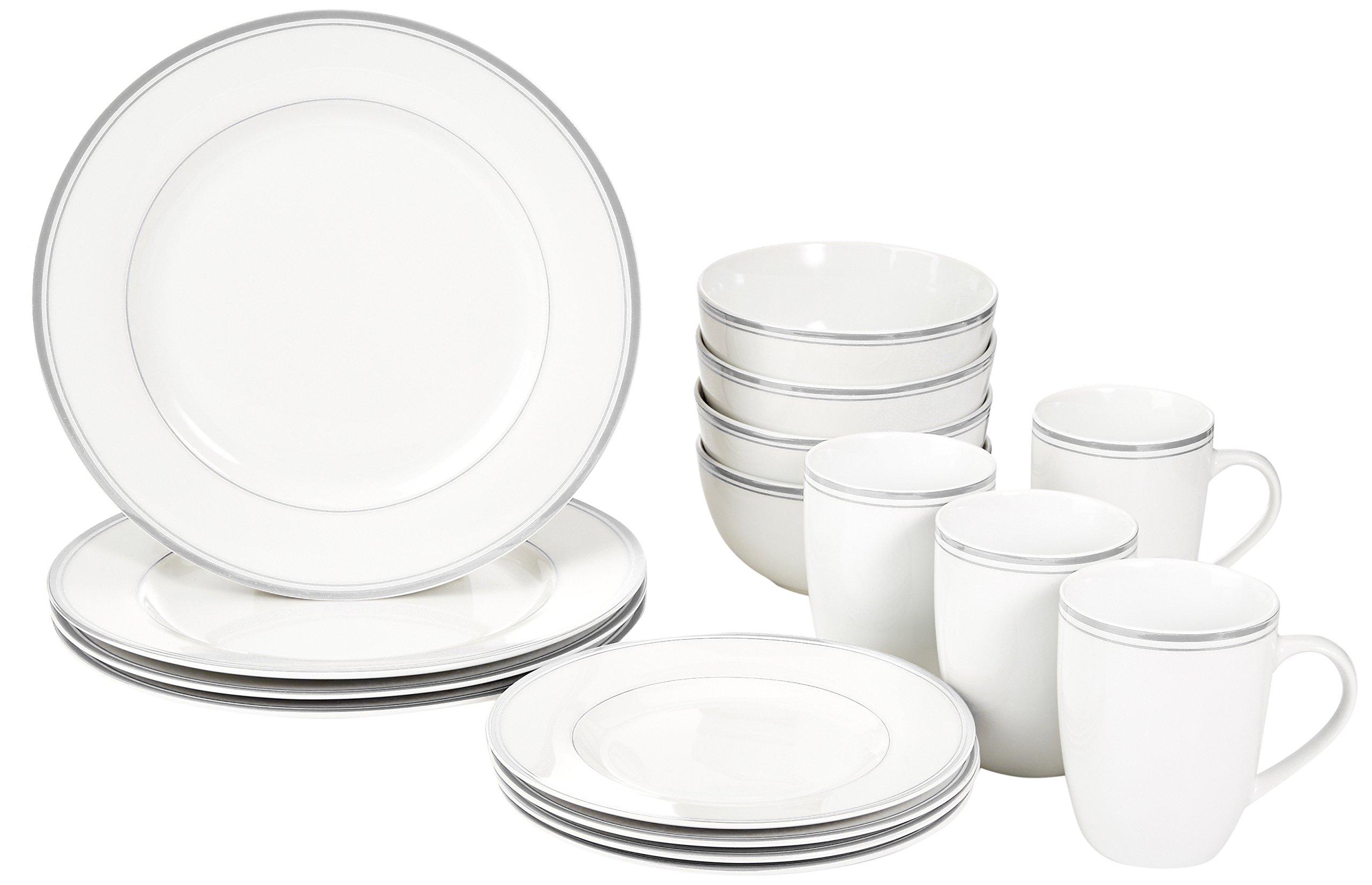 AmazonBasics 16-Piece Cafe Stripe Dinnerware Set, Service for 4 - Grey by AmazonBasics (Image #1)