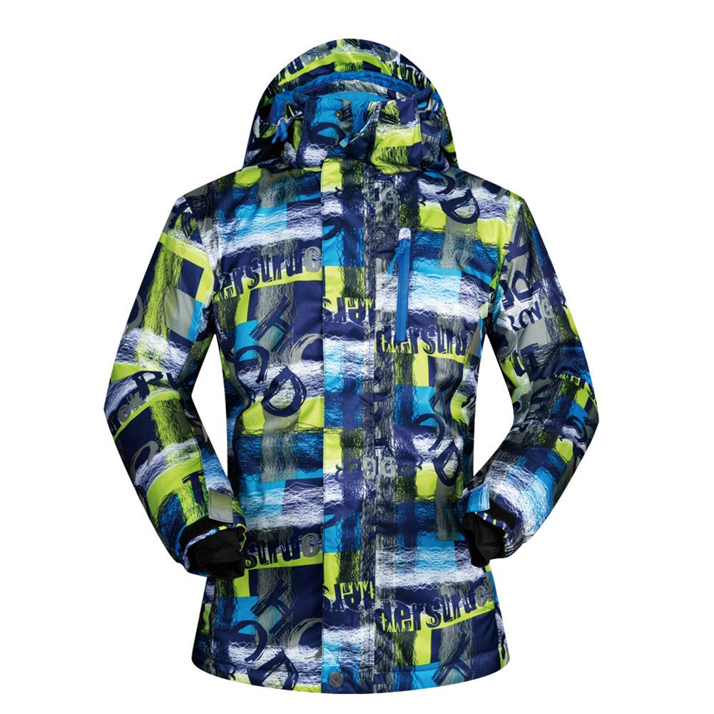 Giow Herren Skianzug, Outdoor Waterproof Patchwork Ski Snowboard Winterjacke und Ski-Pants Set