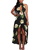 BIUBIU Women's Sexy Floral Halter High Low Beach Party Long Dress S-XL