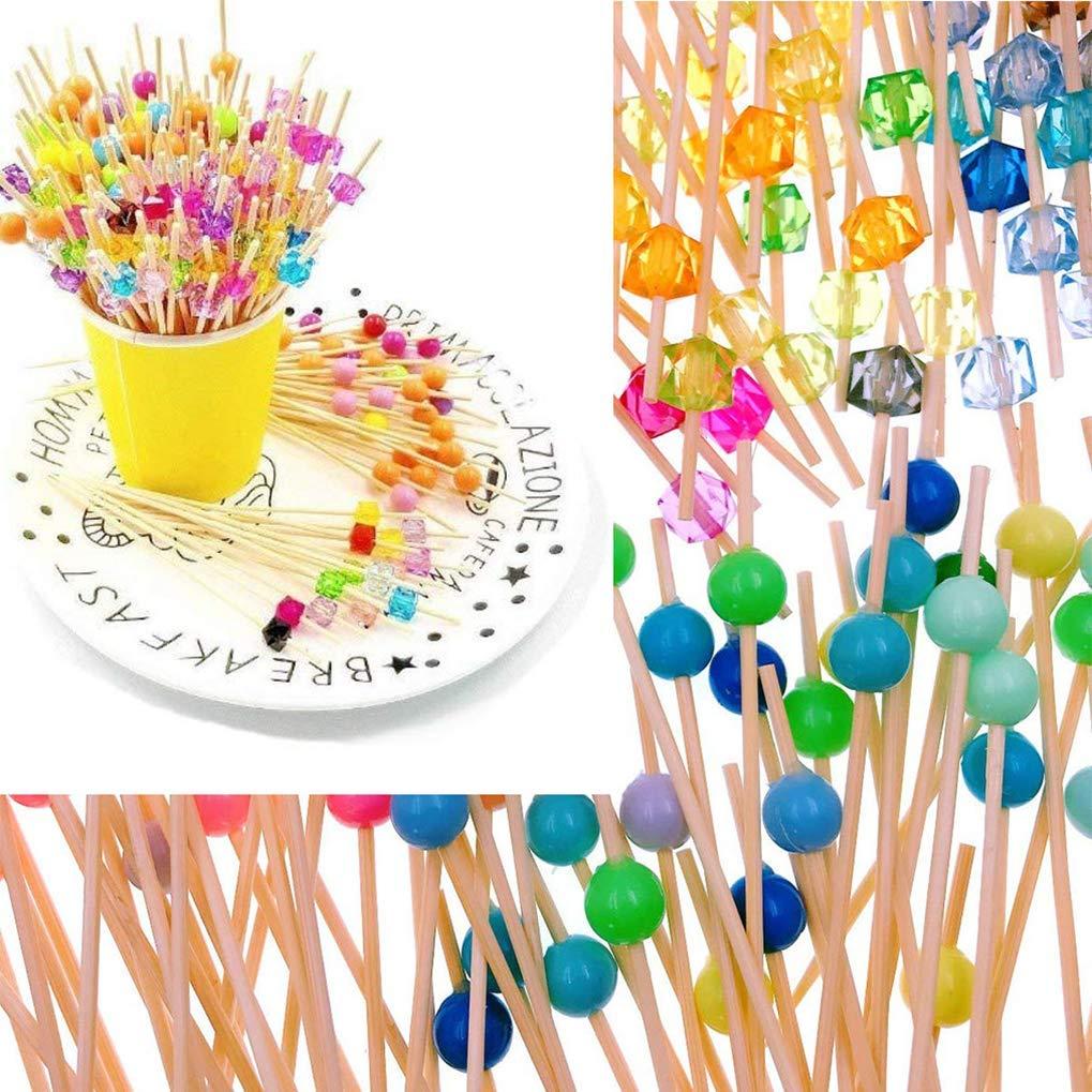 Bonbons et antipasti Nourriture pour Les Doigts 12 cm Poualss Cure-Dents de brochettes de Cocktail 200PCS brochette de Fruits Cure-Dents de brochettes en Bois pour Barbecue