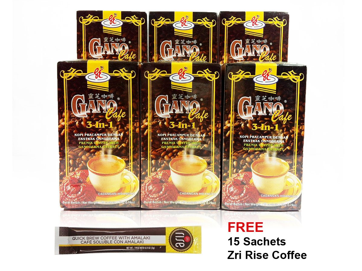 Gano Excel - GanoCafe 3 In 1 Ganoderma Coffee Plus FREE Sample (6 Box X 20 Sachets) FREE Expedited Shipping