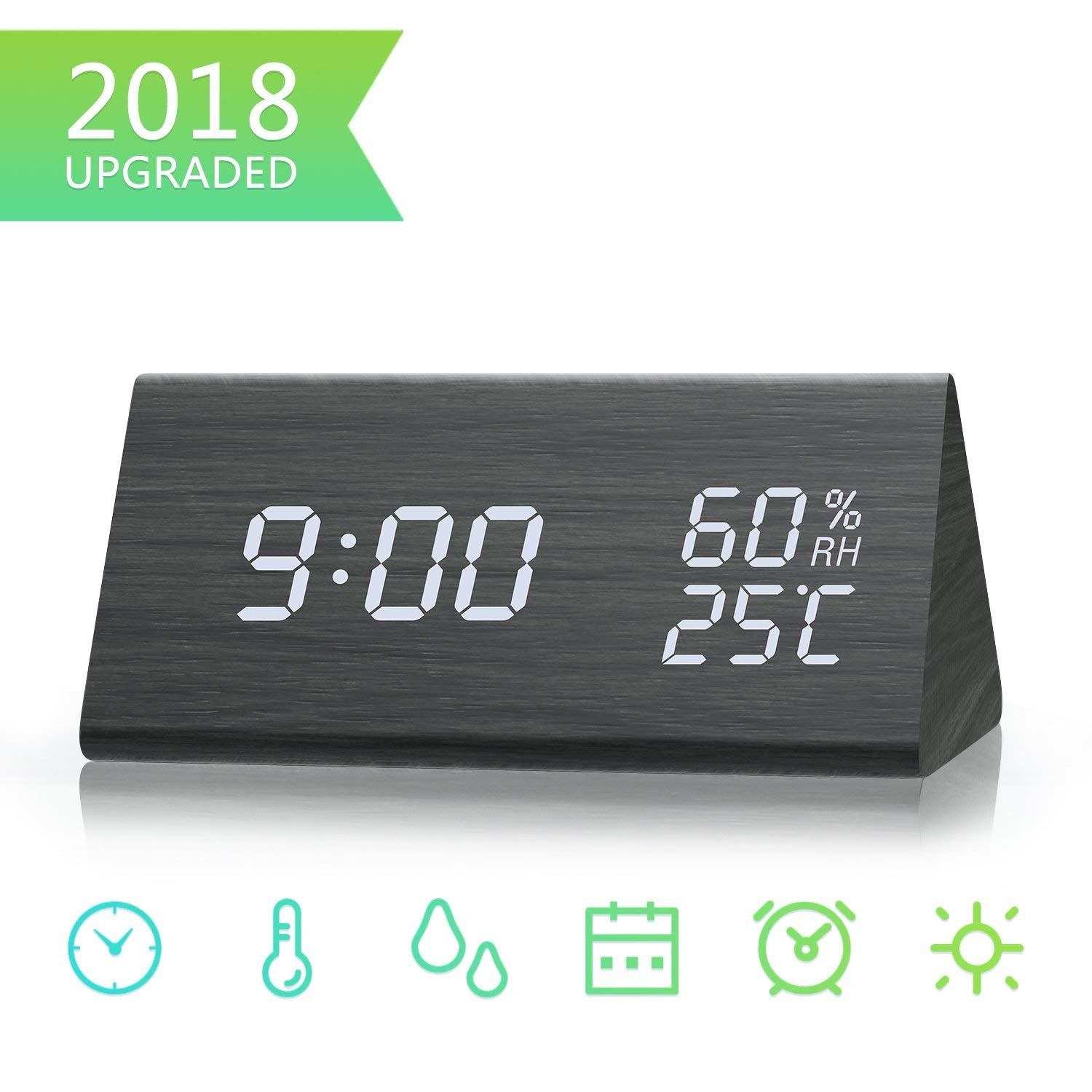 6Feeki Digital Alarm Clock, Dual Time (12/24) Mode, Wooden LED Alarm Clocks with Triple Alarms,3 Levels Brightness Temperature & Humidity Wood Grain Alarm Clock Ideal for Bedrooms,Office