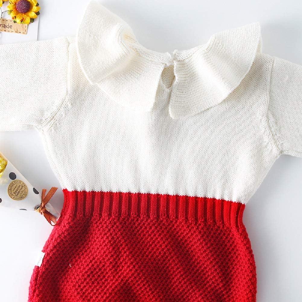 Collager Infant Baby Girls Sweet Knitted Fleece Romper Newborn Long Sleeve Ruffle Jumpsuit Sweater Dress for Girls