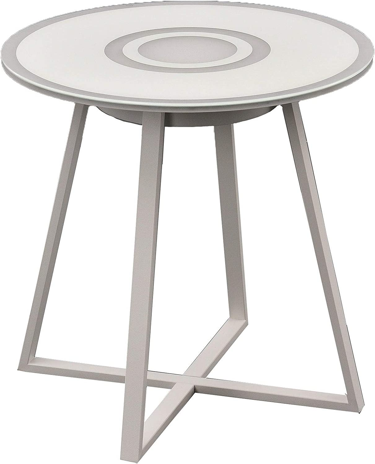 Warehouse of Tiffany Strick & Bolton Doepner Iron Glass-top LED Bluetooth Side Table, White