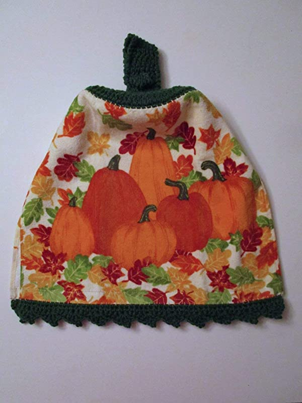 Double  hanging kitchen towel Fall Pumpkins Gourds Leaves-crocheted Teal top