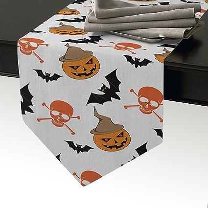 KAROLA Camino de Mesa Feliz Tema Halloween Thriller Calabaza máscara y Calavera, Mantel Individual para