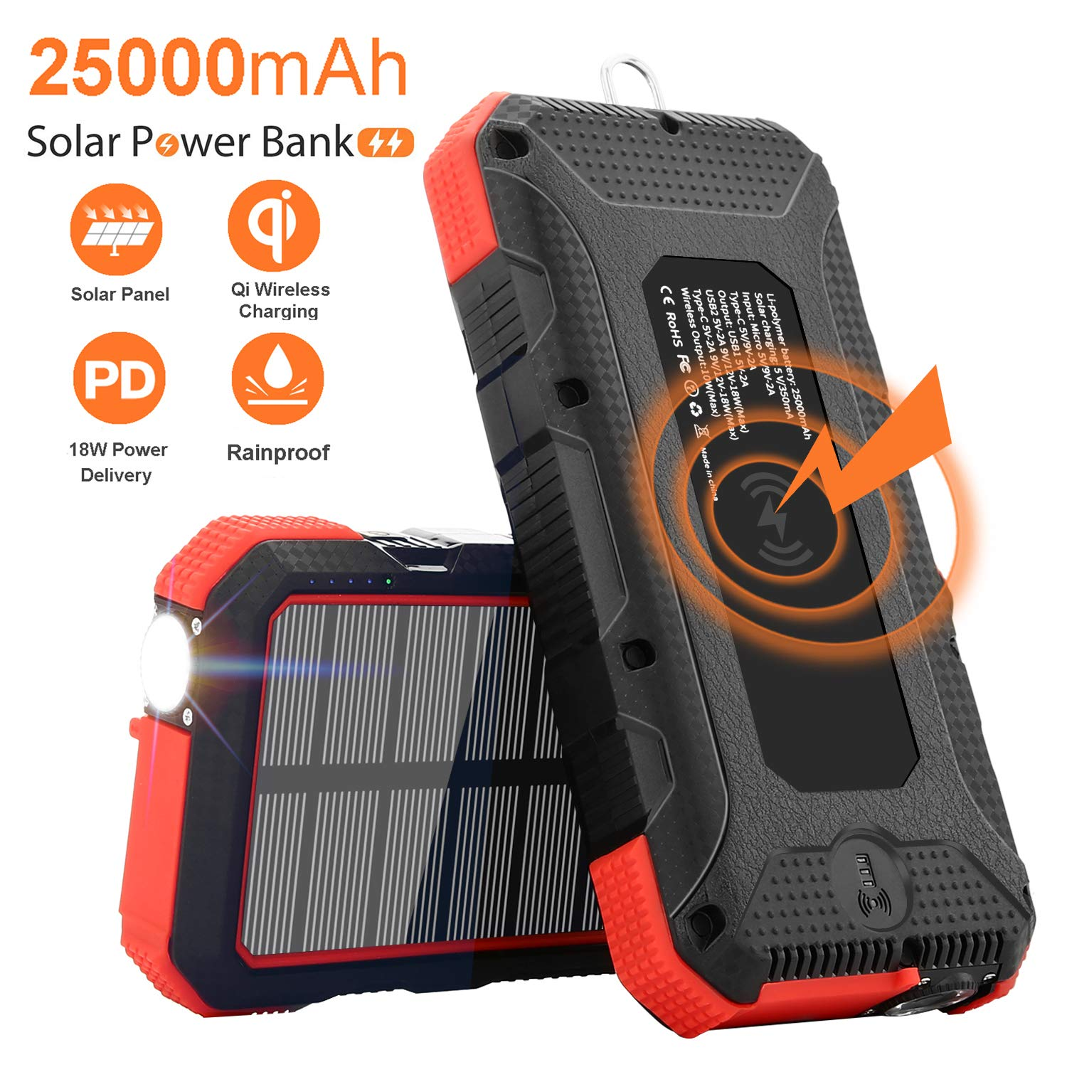 Solar Charger 25000mAh SendowTek 18W PD Power Bank USB C Charging 10W/7.5W Wireless Portable Phone Charger with 4 Outputs External Battery Pack Rainproof Flashlight Carabiner for Camping, Emergency by Sendowtek