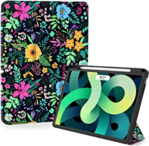 iPad Air 4th Generation Case, Feams Slim Protective Trifold iPad Air 4 Case 10.9 Inch 2020 Soft TPU Back Cover with Pencil Holder & Auto Wake/Sleep for iPad Air 4th Generation, Flower