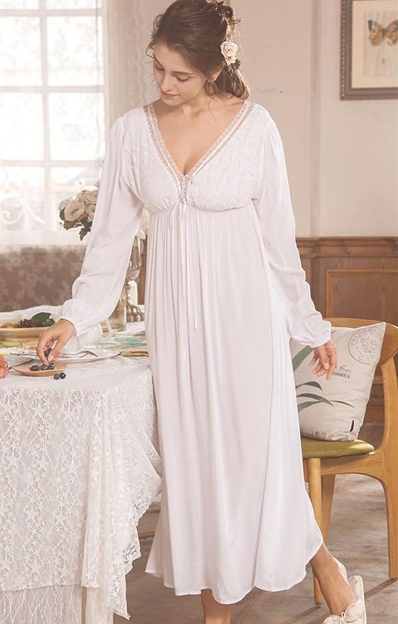 174c82aa73 QLX Retro Palace Sleeping Dress Women Spring   Autumn V Necklace Cotton  Long Sleepwear White Nightdress  Amazon.co.uk  Clothing