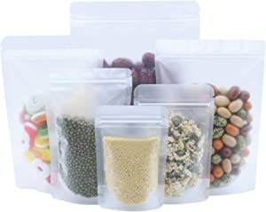 100 Pack Resealable Stand Up Bags Matte Clear Zipper Lock Heat Seal Pouches with Tear Notch for Zip Food Storage Lock Packing 9x13cm (3.5x5.1 inch)