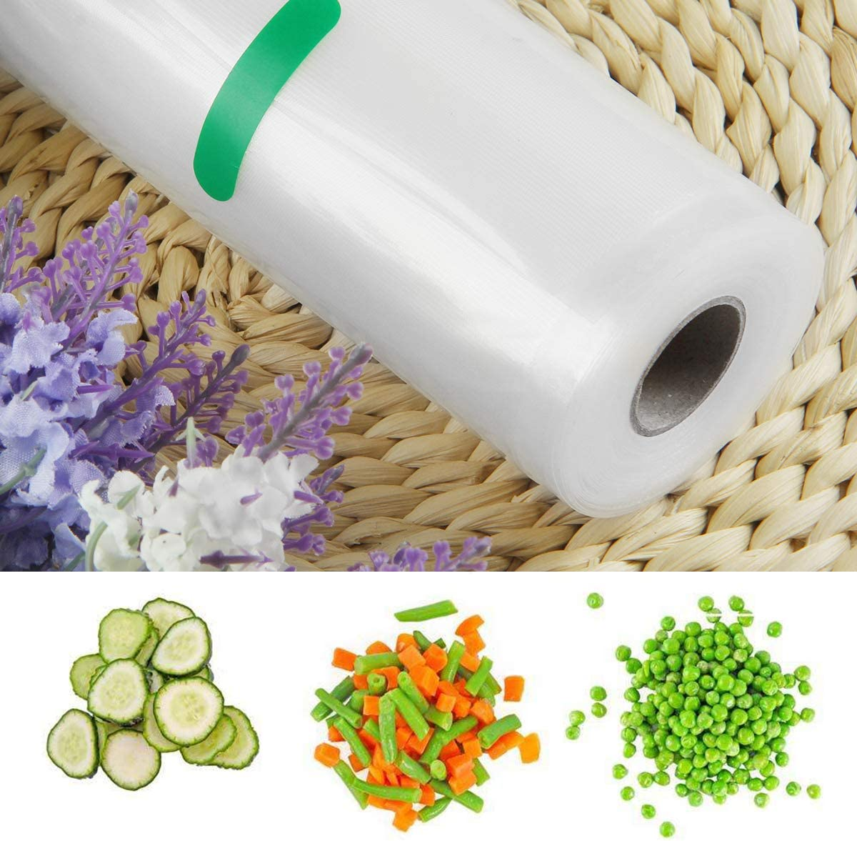 Yinuoday Sealer Bags Rolls Vacuum Varisized Reusable Food grade Storage Bags Heavy Duty Works with Food Saver Vacuum Sealer and Sous Vide Cooking(28x500cm) 20*500cm