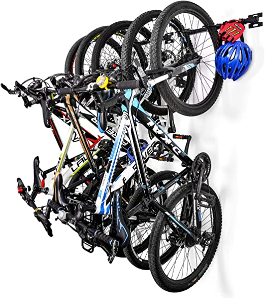 Sunix Soporte Bicicleta Suspensión, Soportes de Almacenamiento para Bicicletas Colgante hogar y Garaje Montaje en la Pared, Soporta hasta 5 Bicicletas, Paquete de 2: Amazon.es: Hogar
