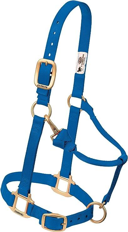"Weaver Leather Original 1/"" Horse Adjustable Chin Throat Snap Nylon Blue Halter"