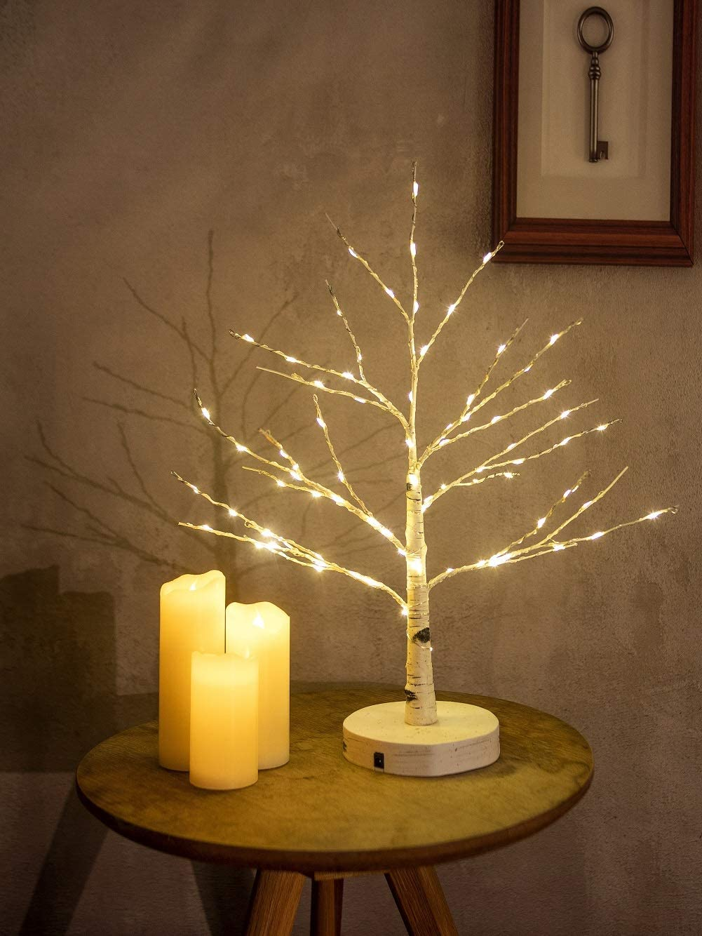 Artificial Decorative Light Tree | 24 Warm White LED Star Batteries USB Operated | Tabletop Decoration Centerpiece | Christmas Easter Holiday Party Indoor Decor 18 Inches (80 LEDs Grain Base)