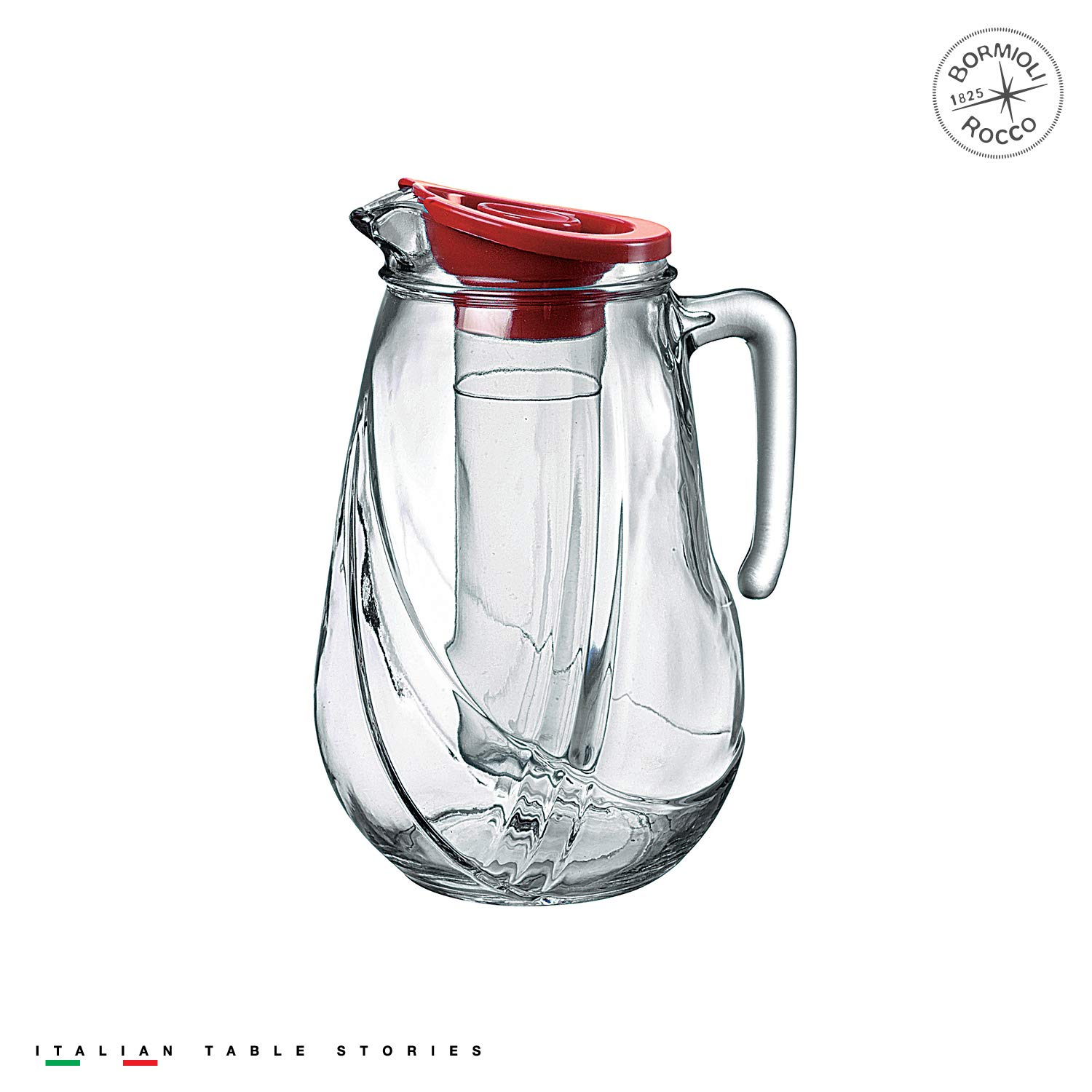 Bormioli Rocco Rolly Jug with Ice Container and Red Lid, 87-1/4-Ounce Set of Two COMINHKPR93070