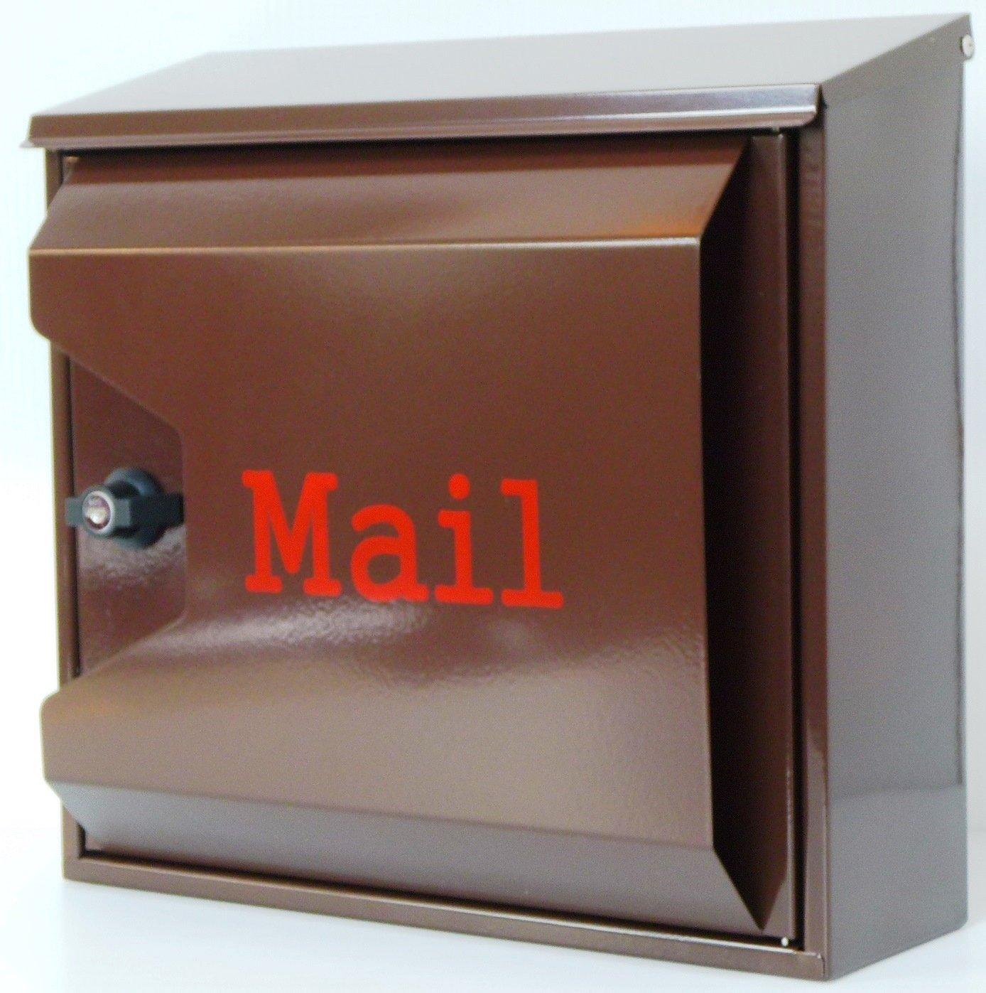 郵便ポスト郵便受け北欧風大型メールボックス 壁掛けプレミアムステンレス ブラウン色ポストpm042 B071ZB14LQ 12880