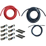 WindyNation 8 Gauge AWG (8 Feet Black + 8 Feet Red) Power Inverter Battery Cable Wire Kit for DC to AC Inverters RV, Car, Solar, Marine, Off-Grid