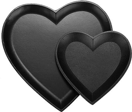 com-four® Juego de 2 Piezas de Cuencos Decorativos corazón, Cuenco de Madera Negro Mate en Forma de corazón, Bolsillo vacío como Cuenco de Almacenamiento para Llaves (02 Cuencos - corazón - Negro)