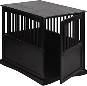 New! Wooden Furniture End Table and Pet Crate (Small, Black)
