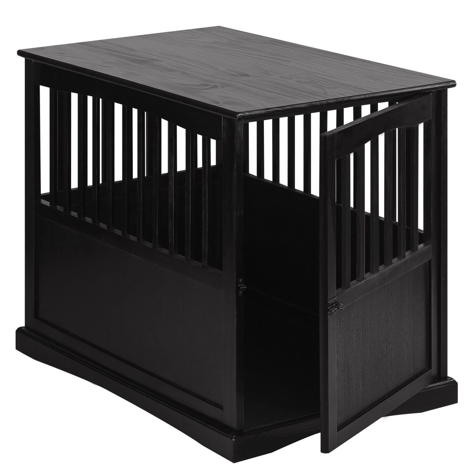 NEW! Wooden Furniture End Table and Pet Crate (Large, Black)