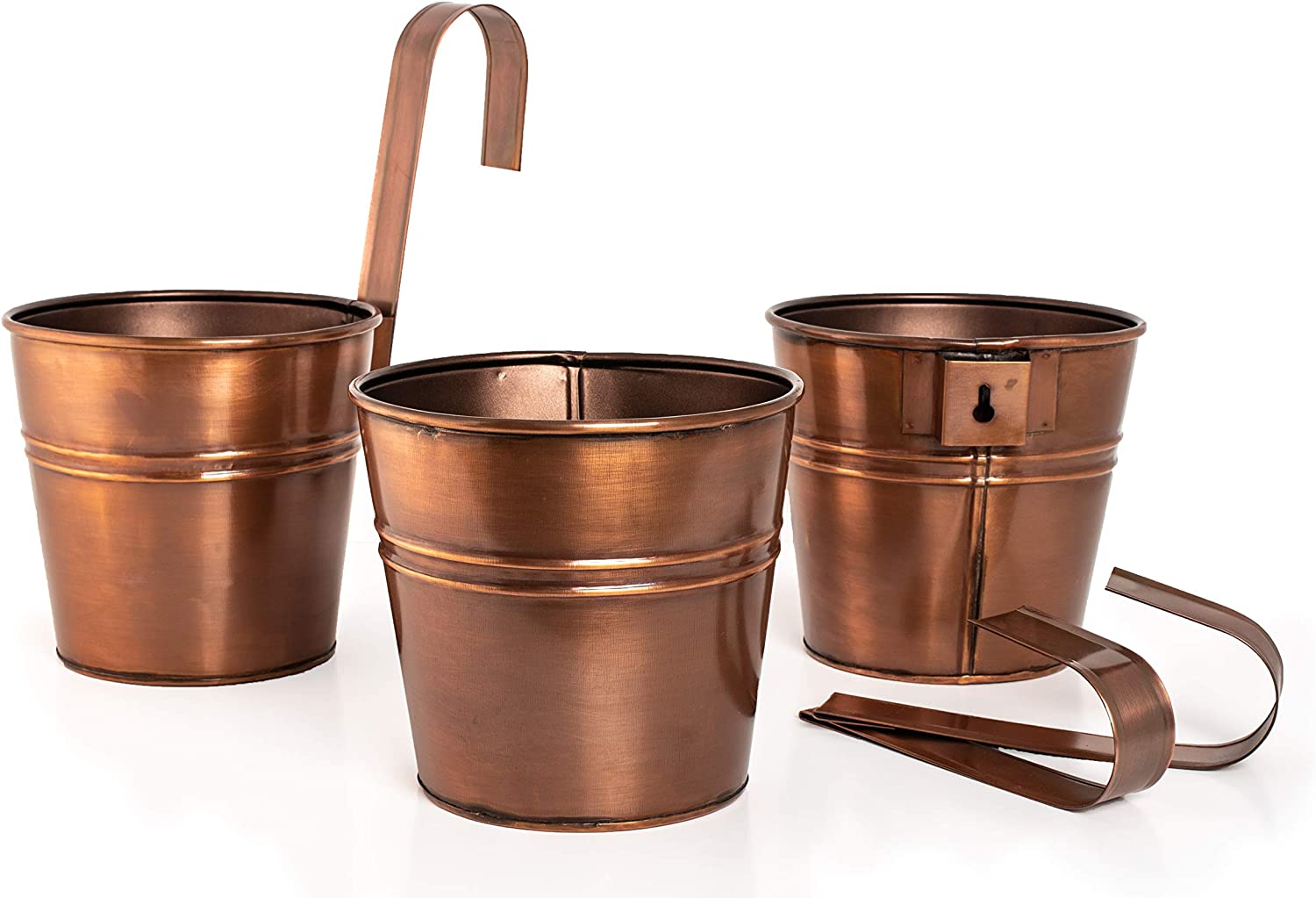 Hanging Metal Flower Pots/Planters/Buckets in Copper Finish for Plants, Herbs, Succulents. Use Indoor & Outdoor. Set of 3. Detachable Hook for Balcony, Railing & Fence. Screw Point for Wall Hanging.