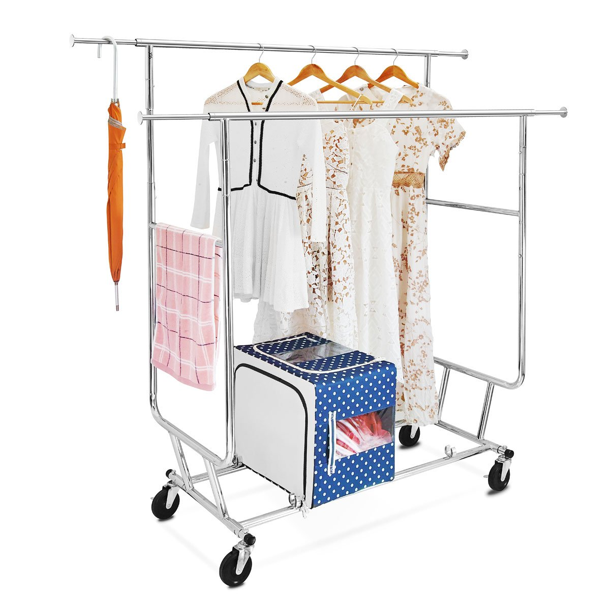 Double Rail Garment Rack with Adjustable Extendable Rails, Chrome Finish Collapsible Clothing Rack, Commercial Grade Clothes Drying Rack, Rolling Racks with Wheels