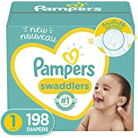 Baby Diapers Newborn/Size 1 (8-14 lb), 198 Count - Pampers Swaddlers, ONE MONTH SUPPLY (Packaging and Prints on Diapers May Vary)