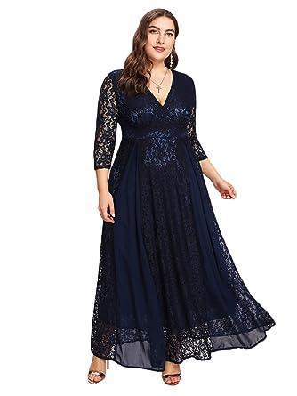 2f69dd5a5dd ESPRLIA Women s Plus Size High Waist Lace Overlay Evening Maxi Dress ...