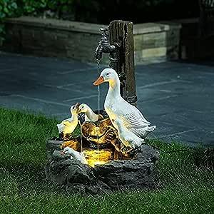 Animal Garden Statue with Solar Led Lights, Solar Powered Garden Lights Squirrel Water Fountain Statue, Duck Water Fountain Statue, Creative Resin Outdoor Sculpture (Duck, Regular)