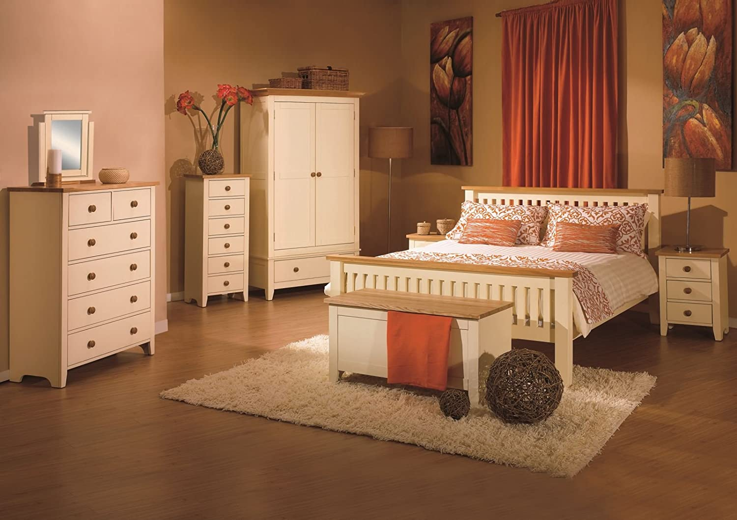 Admirable Camden Shaker Cream Wood Painted 4Ft 6 Double Bed Amazon Complete Home Design Collection Barbaintelli Responsecom