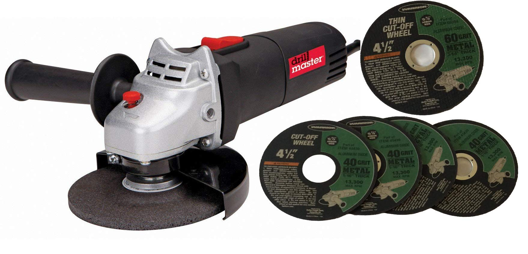 Drill Master 4-1/2'' Angle Grinder Electric Power Tool 120v 60625, 4 Cut-off 40 Grit and 1 Thin Cut-off 60 Grit wheels