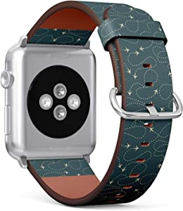 Compatible with Apple Watch 42mm & 44mm (Series 5, 4, 3, 2, 1) Leather Watch Wrist Band Strap Bracelet with Stainless Steel Clasp and Adapters (Travel Around World Airplane Routes)