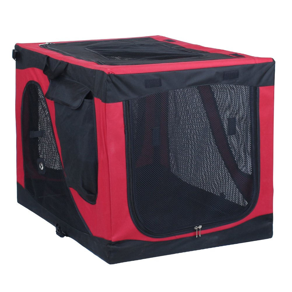 Captain Pet Soft Crate Portable Kennel Foldable Dog House Travel Pet Cage with Steel Frame Suit for Small Dogs & Cats (S:27.5''L20.5''W20.5H, Black/Red)