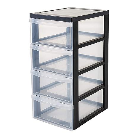 IRIS - Carrito de almacenaje con 4 cajones, Color Negro y Transparente, tamaño Mediano