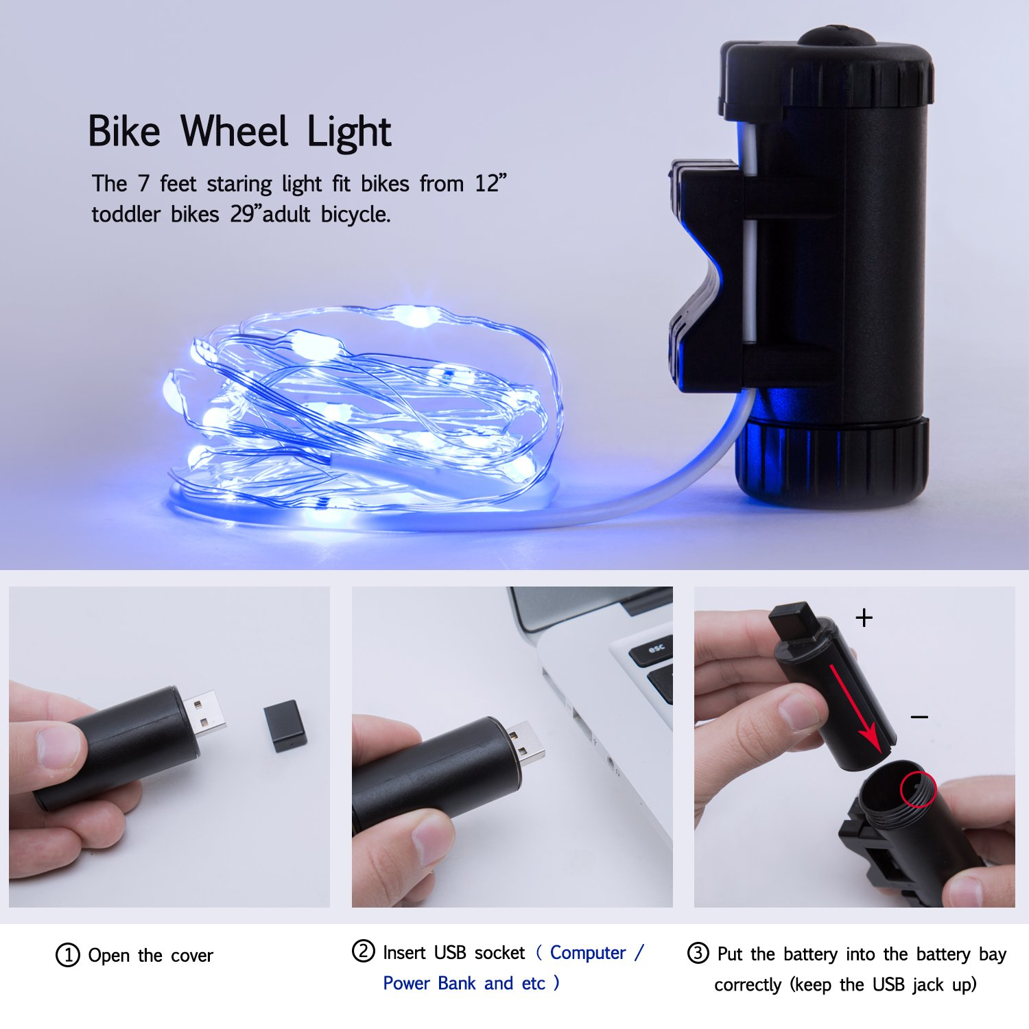 Exwell Bike Wheel Lights, 7 Colors in 1 Bike lights,Safety at Night,Switch 9 Modes LED Bike Accessories Lights, USB rechargeable 1 PACK by Exwell (Image #4)