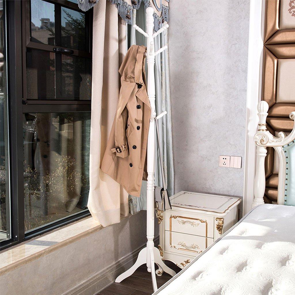 White ZJ-Coat rack Coat Rack Solid Wood European Simple Simple Modern Hanger Bedroom Creative Living Room Floor Clothes Rack Size -45x45x183cm && (color   White)