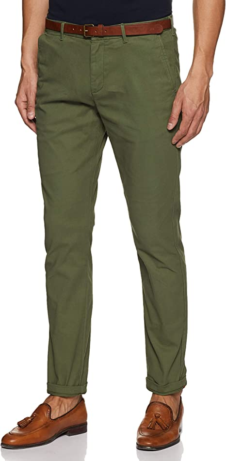Scotch /& Soda AMS Blauw Stretch Stuart Chino with Belt Pantalones para Hombre
