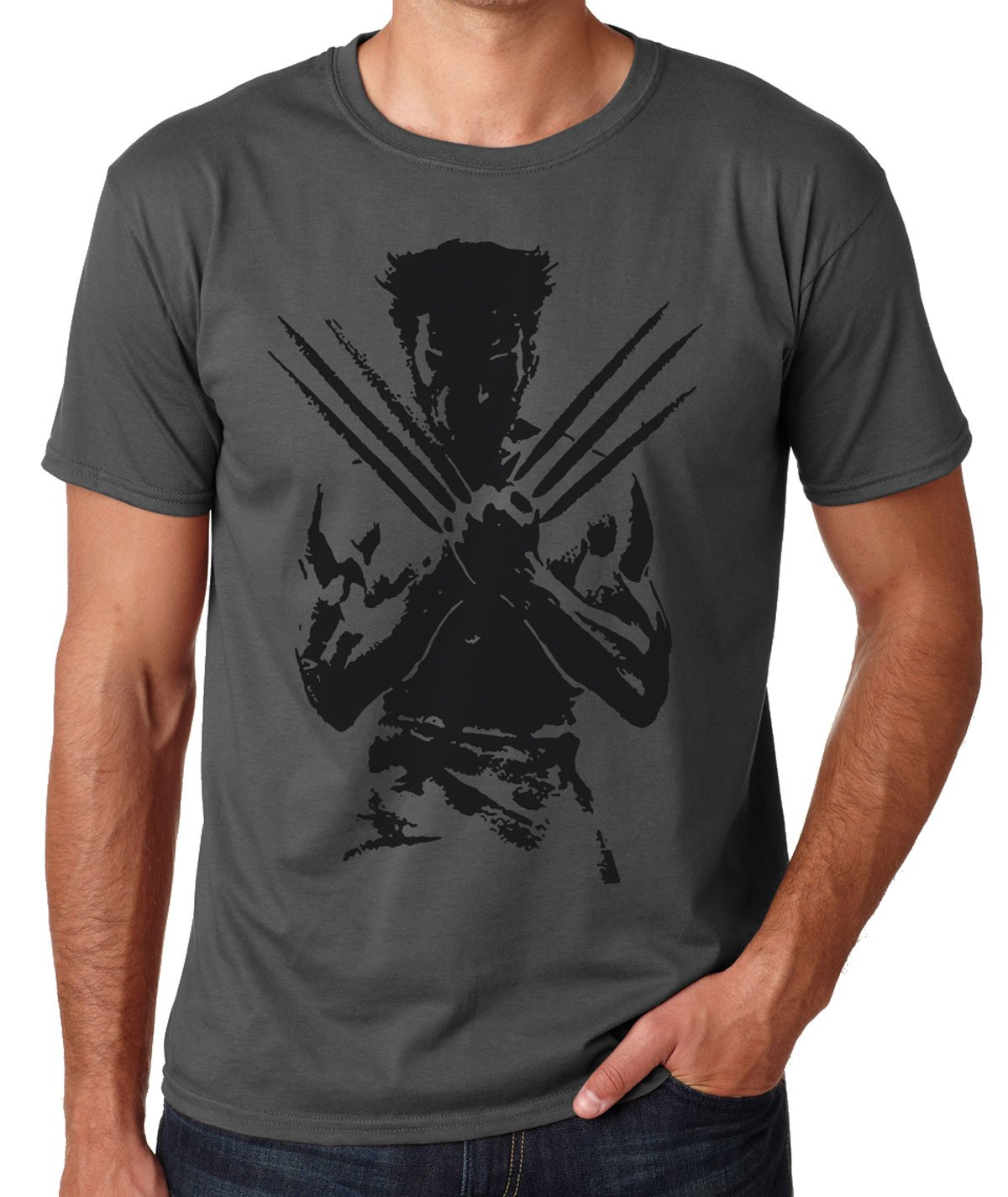 Bedford Screen Wolverine Logan T-Shirt Distressed Effect Men's Grey T-Shirt (M)