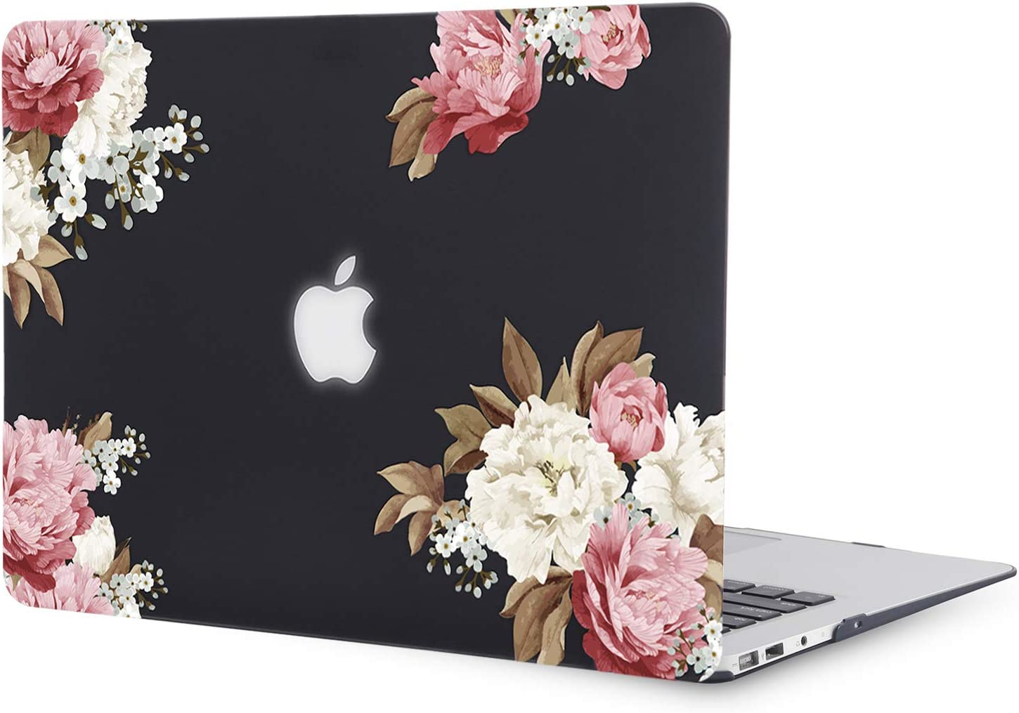 iDonzon MacBook Air 13 inch Case (Model: A1466 & A1369, 2010-2017 Release), 3D Effect Matte Black See Through Hard Cover Only Compatible Mac Air 13.3 inch - Peony Black Base