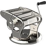 bonVIVO® Pasta Mia (NEUES DESIGN) Nudelmaschine aus Edelstahl in Chrom-Look, für den italienischen Pasta-Genuss aus der eigenen Küche, mit rutschfesten Ansaugsockel