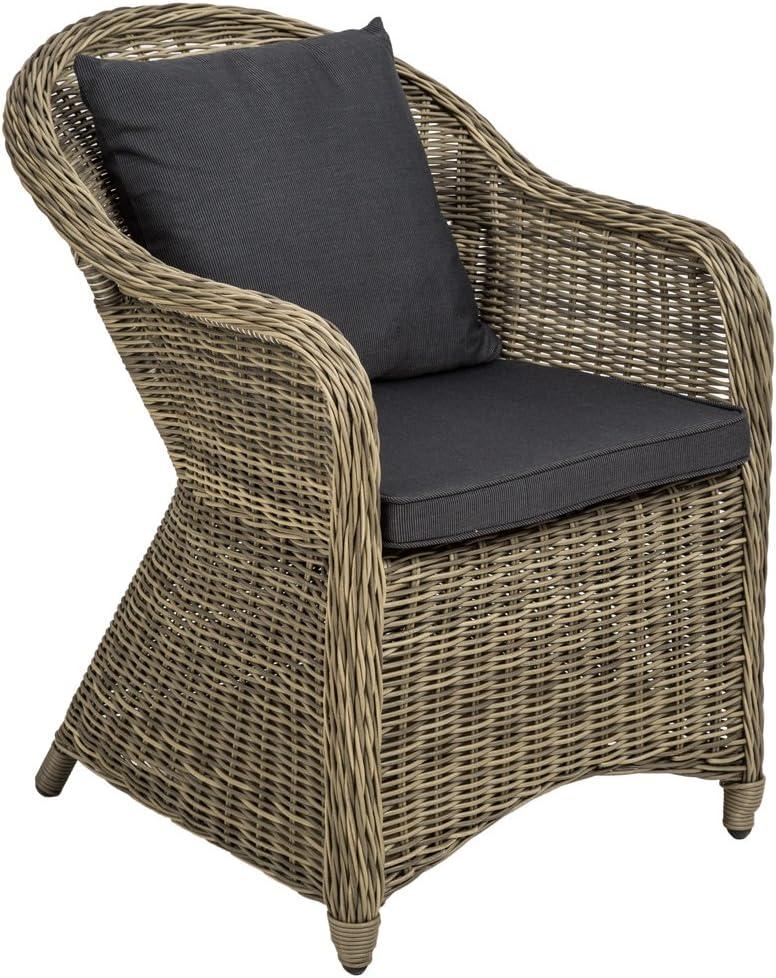 marrone mista | no. 401975 disponibile in diversi colori TecTake Poltrona seduta sedia da giardino in alluminio e polyrattan rattan con cuscino sedile e cuscini posteriori