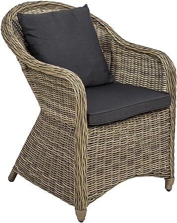 TecTake Aluminium Chaise de Jardin Salon Fauteuil siège en Style Osier résine tressée avec Coussin et Coussin de Dossier diverses Couleurs au Choix