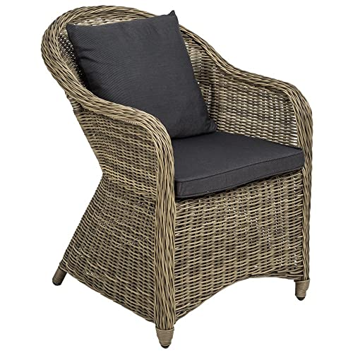 TecTake Luxury Aluminium Wicker Chair Seat Armchair Garden Conservatory  Poly Rattan Natural + Seat Cushion And