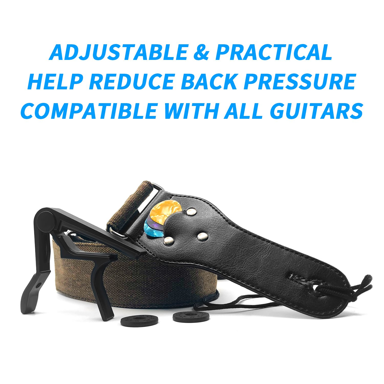 Kormest Adjustable Guitar Straps Acoustic - Denim Style With Leather Ends for Electric Bass Ukulele Including Guitar Capo+Safety Locks+Picks (Coffee,2\'\')