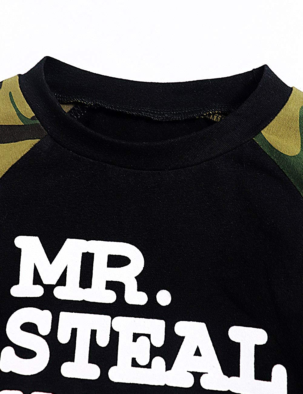 Toddler Baby Infant Boy Clothes Mr Steal Your Girl Tops Camouflage Pants Outfit Set