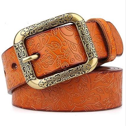Belingeya Cinturon elástico de Mujer Damas Cinturones de Cuero Puro Cuero  Cinturón Ancho Estudiantes Pantalones Cinturones dd58603ec891